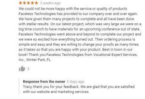 Faceless Technologies Google Review